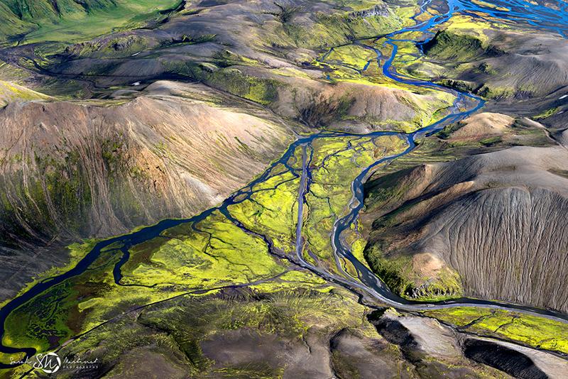 paysage de l'Islande vu du ciel