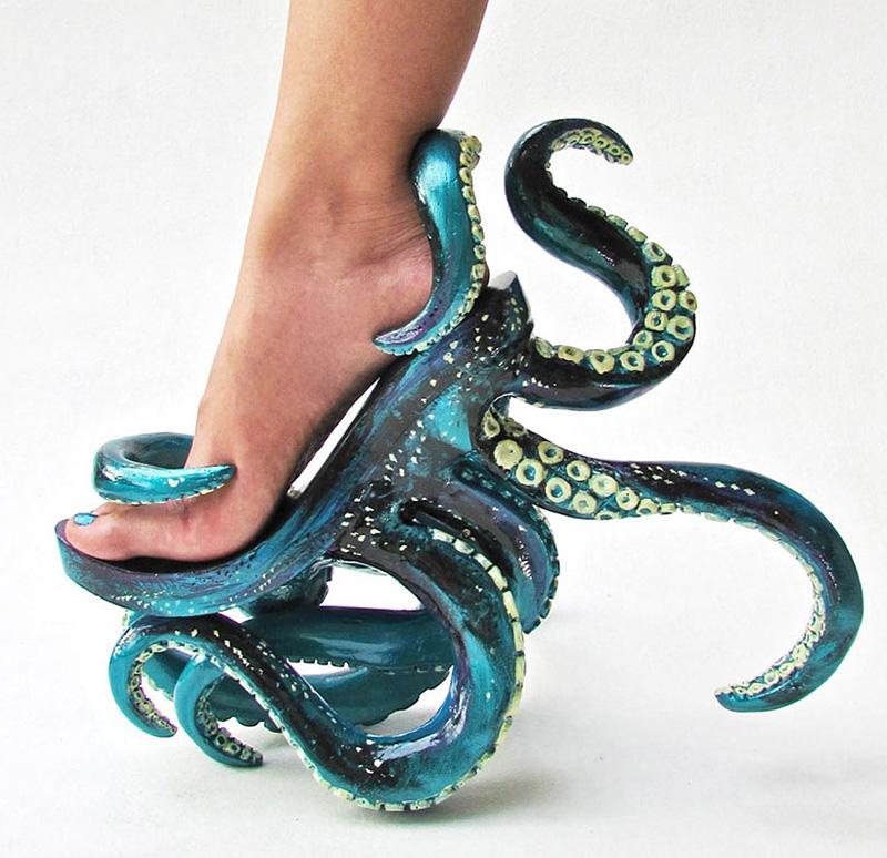 Chaussures en forme de tentacules de pieuvre